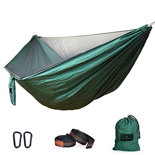 iBasingo Camping Hammock with Mosquito Net Lightweight Swing Portable Heavy Duty Nylon Cot Bed 1/2 Person Sleeping Bag 200kg Load Capacity Travel Hammock for Outdoor Garden Hiking Backpacking Picnic