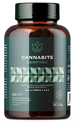 OMEGA 3 6 9 Vegetale | 365 Capsules | 1000 mg per dose | Olio di Semi di Canapa (Cannabis Sativa) Spremuto a Freddo | BIO | Alta Concetrazione | 100% Puro | Niente pesce | Senza stearato