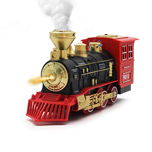 Hot Bee Electric Toys Train Steam Locomotive Engine - Battery Operated Train Engine w/ Smoke, Lights & Sounds, for Kids Age 3 and Up
