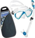 Cressi Ranger & Dry Kit máscara Tubo, Unisex Adulto, Transparente/Azul Claro, Talla Única