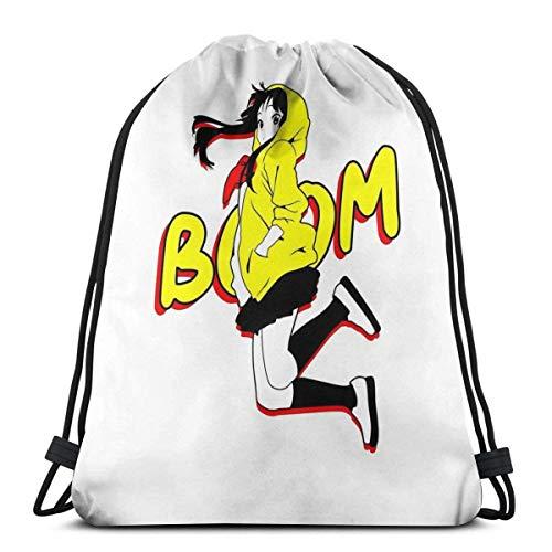 HONGZHESM Turnbeutel Home Taschen SporttascheSport Rucksack-Tasche mit Kordelzug Boom-Mio