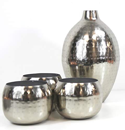 PREMIUM MAROKKO DEKO Set Silber Hammerschlag VASE + 3 WINDLICHTER Kerzenhalter ~ VDs A