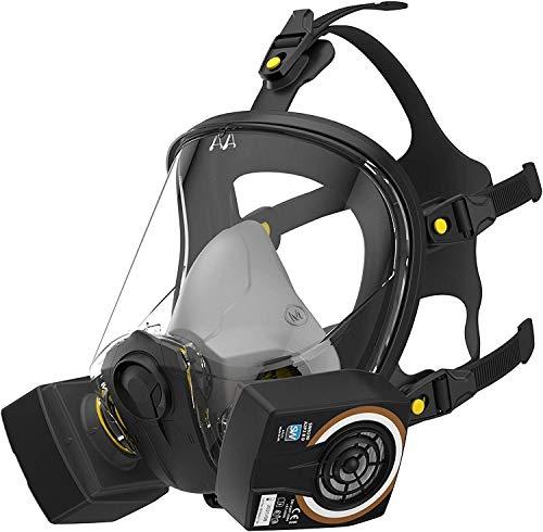SolidWork Vollmaske in Größe Medium im Set mit P3 Filtern | Atemschutzmaske mit Perfekter Passform | Mundschutzmaske mit niedrigstem Atemwiderstand
