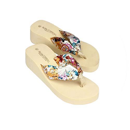 Bohemia Floral Beach Sandals Wedge Platform Thongs Slippers Flip Flops,Beige,37