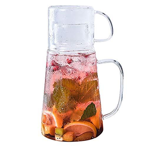 ZTSS Jarra de Agua de Vidrio de 1,2 litros, Jarra de Agua Resistente al Calor con Taza, Jarra de Vidrio de borosilicato para Bebidas para Nevera, Jarra de té Helado para Bebidas frías o Calientes