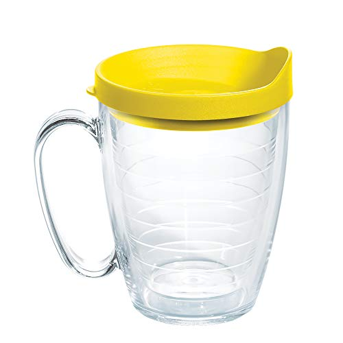 Tervis Clear & Colorful 16oz Mug Lidded Vaso aislado, plástico, Tapa amarilla