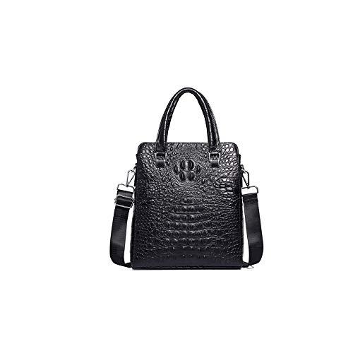 QUAN YOU Handtasche aus Krokodilleder - Vintage Business-Business-Tasche aus Leder mit Krokodilstruktur für Herren Gepäck/Herrentasche/Handtasche (Color : Black, Size : 29 * 8 * 33cm)