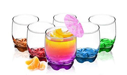 Sendez 6 Trinkgläser 250ml Bunte Boden Glas Wassergläser Saftgläser spülmaschinengeeignet
