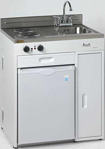 """Avanti CK3016 30"""" Complete Compact Kitchen With 2.2 Cu. Ft. All Refrigerator in White"""