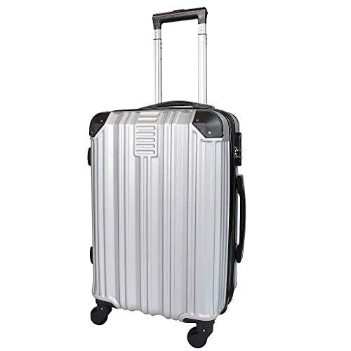 Todeco - Carry On Suitcase, Cabin Luggage - Dimensioni (ruote incluse): 56 x 38 x 22 cm - Tipologia ruote: 4-ruote con 360° di rotazione - Bagaglio a mano 51 cm, Argento, ABS, Protected Corners, Doubl