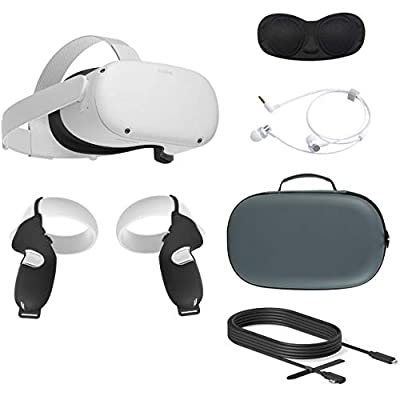 2020 Oculus Quest 2 All-in-One VR Headset, 256GB SSD, Glasses Compitble, 3D Audio, Mytrix Carrying Case, Earphone, Oculus Link Cable (10 Ft), Grip Cover, Lens Cover by Oculus