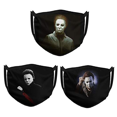 Michael Myers Face Mask Halloween 3pcs Black Masks Unisex Bandana Reusable and Washable Face Cover for Youth and Adult