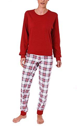 Normann Care Damen Pflegeoverall Langarm mit diagonalen Reissverschluss am Rücken 56336, Größe:XXL;Farbe:rot