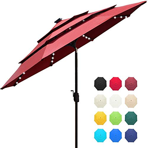 EliteShade Sunbrella Solar 9ft 3 Tiers Market Umbrella with 80 LED Lights Patio Umbrellas Outdoor Table with Ventilation and 5 Years Non-Fading Top,Burgundy