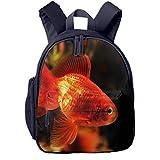 Mochilas Infantiles, Bolsa Mochila Niño Mochila Bebe Guarderia Mochila Escolar con Acuario Animal Verde Goldfish Naranja para Niños De 3 a 6 Años De Edad