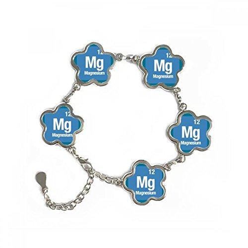 DIYthinker MG - Pulsera de Metal con diseño de Flor y Elemento químico de magnesio
