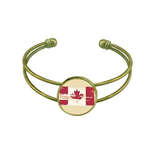 DIYthinker Kanada Geschmack Flagge und Ahornblatt Armband Armreif Retro Offene Manschette Schmuck