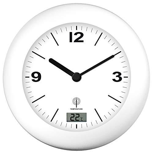 Zeit-Bar Horloge murale radio-pilotée silencieuse pour salle de bain avec affichage de la température
