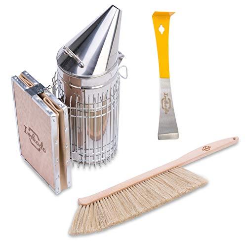 Imkado Imker Einsteiger Set Standard - Premium Edelstahl-Smoker, Bienenbesen, Stockmeißel - Einsteiger-Set Imkereibedarf