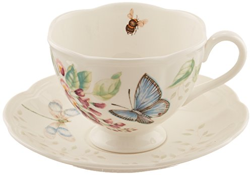 Lenox Meadow Cup and Saucer, 1.3 LB, Blue Butterfly