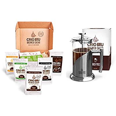 Sampler Starter Kit/ Set (5 Varieties)   Natural Healthy Brewed Cacao Drink   Great Substitute to Herbal Tea and Coffee   99% Caffeine Free   Keto Whole-30 Honest Energy (Set (Incl. French Press))
