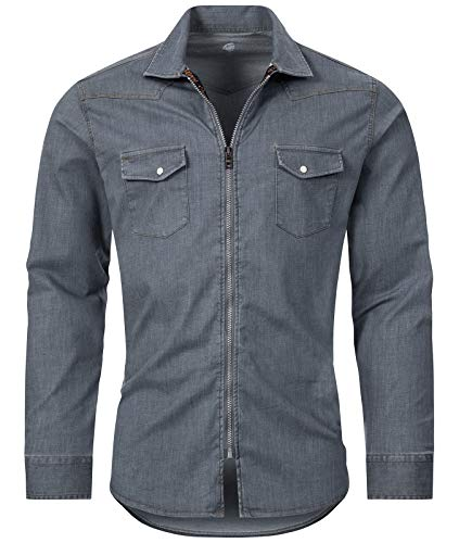 Rock Creek Herren Jeans Hemd Übergangsjacke Herrenjacke Herrenhemd Jeanshemden Männer Hemd Reißverschluss Kentkragen Freizeithemd H-220 Blau L