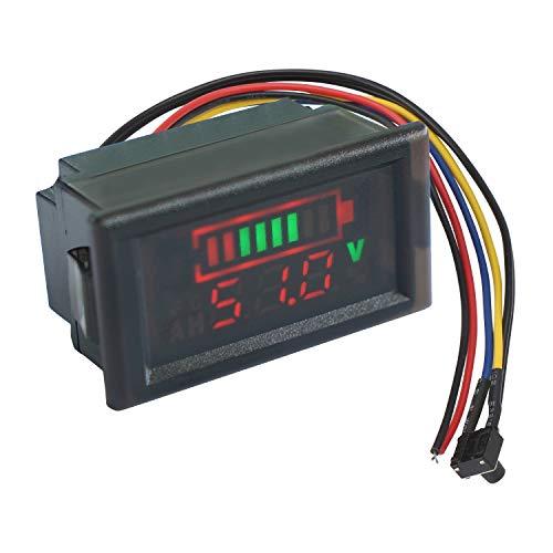 Medidor de voltios de batería digital, Droking DC 12V 24V 36V 48V 60V 64V 72V Monitor de capacidad de la batería con indicador de voltaje de pantalla LED a color Indicador de batería