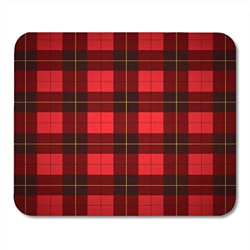 AOHOT Mauspads Red Scotland Wallace Tartan Scottish Plaid Yellow Diamond Thread Wool Mouse pad 9.5