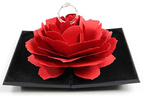 ROLLIN Caja Anillo Rosa Porta alianzas Boda con Flor Decorativa de Expositor Anillo | Estuche Caja Sorpresa para Joyas en Forma de Rosa