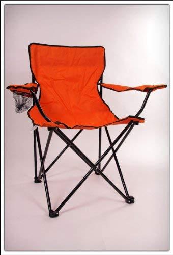 Spetebo Camping Klappstuhl in 5 Farben - Campingstuhl, Anglersessel mit Getränkehalter (orange)