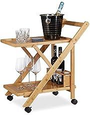 Relaxdays Wózek kuchenny z bambusa, wózek do serwowania składany z uchwytem na butelki, wózek drewniany, wys. x szer. x gł.: 70 x 40,5 x 65 cm, naturalny