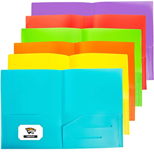 TigerTuff 6 Pack Ultra Heavy Duty Plastic Folders with Two Pockets - Assorted Colors for Work & School - with Business Card Slot Plastic 2 Pocket Folders - Fits Letter & A4 Size