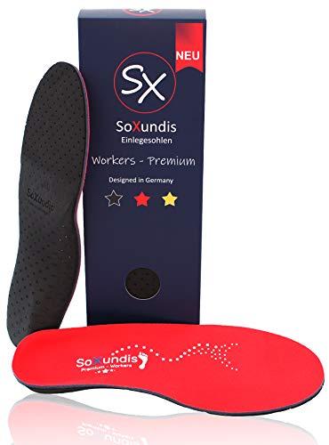 SOXUNDIS Einlegesohlen Workers – Ideal für Arbeit und Alltag, weiche orthopädische Schuheinlagen mit dämpfendem Fußbett – Einlagen Schuhe für Damen & Herren 42-45