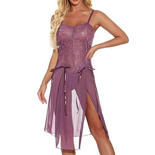 NLZQ Damen Frauen V-Ausschnitt Reizwäsche Spitzenbody Schlinge Nachtwäsche Kleid Stringbody Einteiler Bodys Babydolls Bodysuit Erotic Lingerie Geteilter Saum XL
