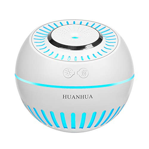 HUANHUA Mini Ultrasonic Humidifier Baby Humidifier Bedroom Humidifier Cool Mist Desk Humidifiers, 380ML Not Rechargeable, with 7 Changing Cute Color LED Light Whisper Quiet for Home Baby Room Office