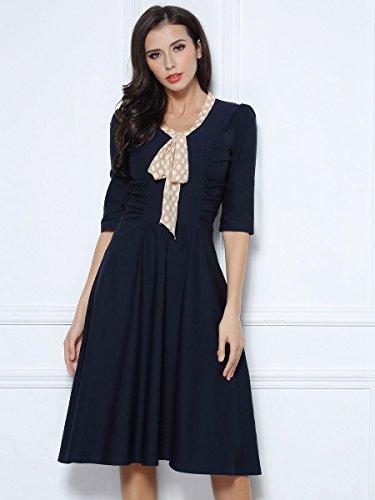 Miusol Damen V-Ausschnitt Schleife Cocktailkleid Faltenrock 50er 60er Jahr Party Stretch?Kleid Blau Gr.L - 3