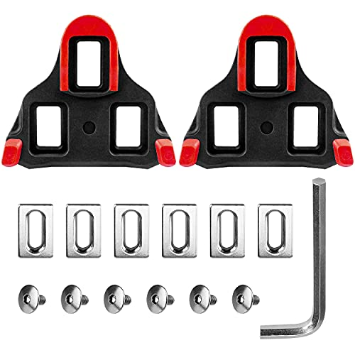MOCOBO Road Bike Cleats 6 Degree Float Self-locking Cycling Pedals Cleat Set for Shimano SPD-SL Shoes Red