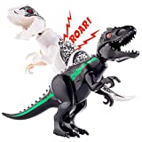 Vanmor 2 Set Large Indominus T-Rex Jurassic Dinosaur Building Block Toy with Sound, 11.47 × 7 Inches Black & White Dinosaur Figure Take Apart Toy Gift for Kids Boys Girls