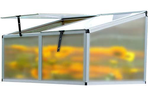OUTFLEXX Hochbeet-Aufsatz aus Alu/Hohlkammerplatten in Silber, ca. 116x86x60 cm für Frühbeete, Hügelbeete und Gartenbeete zum Schutz der Blumen, Pflanzen, Gemüse und Kräuter vor Witterungseinflüssen