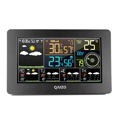 QJUZO Stazione Meteo WiFi con Sensore Esterno Wireless Temperatura Interno Smart Weather...