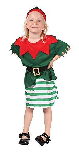 Bristol Novelty CC073 Costume d'Elfe du Pere Noel pour Petite Fille Age 2–3 Ans, Blanc, XS
