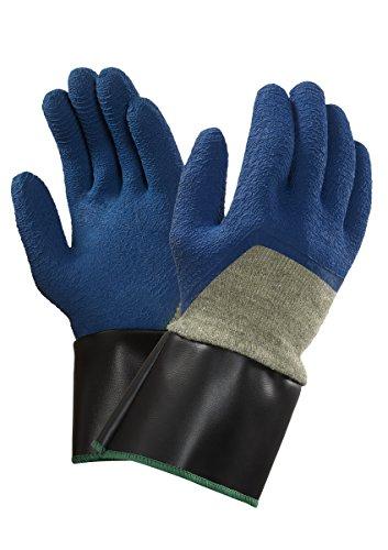 Ansell PGK10BL SC Gants en latex de caoutchouc naturel, protection mécanique, Bleu, Taille 9 (Sachet de 12 paires)
