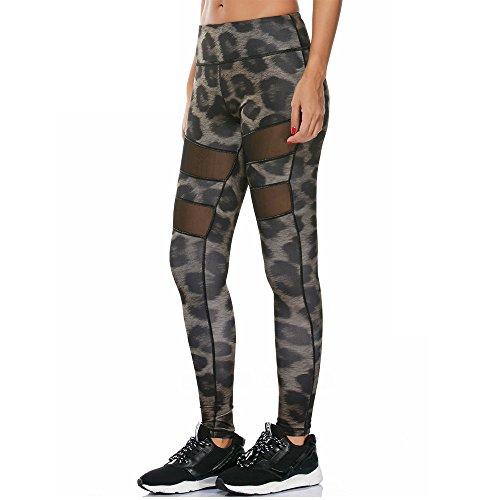 Zjcpow - Pantalones de yoga para mujer, cintura alta, pantalones de yoga, control de barriga, entrenamiento, correr, estiramiento de yoga, poliéster, dorado, X-Large