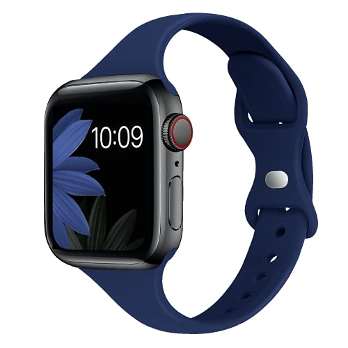 STG Sport Band Compatible with Apple Watch 38mm 40mm 42mm 44mm, Soft Silicone Slim Thin Narrow Replacement Strap Compatible for iWatch SE Series 6/5/4/3/2/1 (Midnight Blue, 38/40mm)