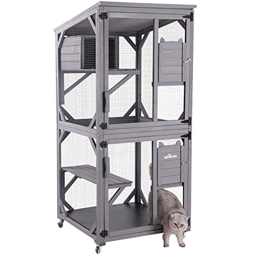 Aivituvin Large Wooden Cat House Outdoor and Indoor Run 70.9' Wooden Cat Enclosure on Wheels...