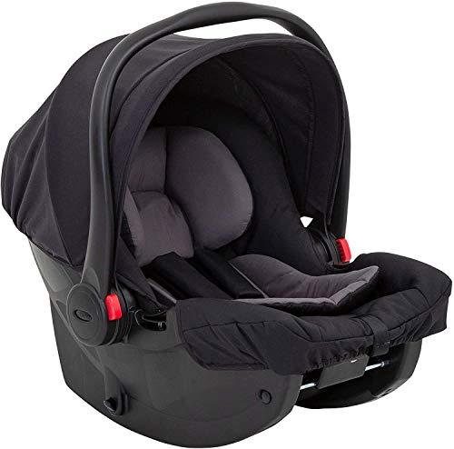 Graco SnugEssentials i-Size Babyschale für Auto, ab Geburt bis 75 cm, leichter Baby-Autositz, nutzbar auch mit Isofix-Basis, Seitenaufprallschutz, Neugeboreneneinlage, Sonnenverdeck, Midnight Black