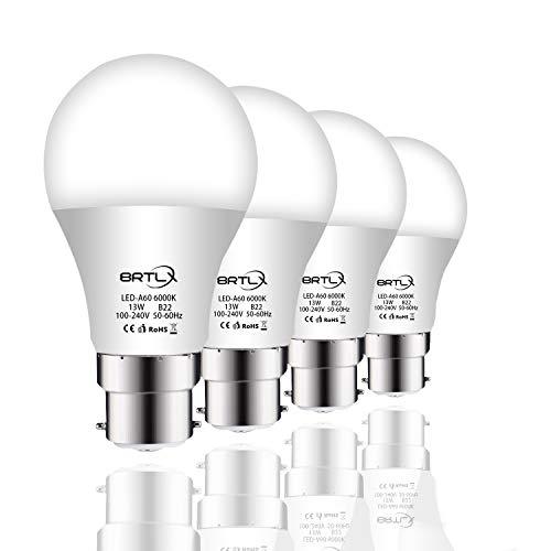 BRTLX Ampoules LED Standard Culot B22, A60 13W équivalent 100W, Blanc Froid 6000K, Dépolie, Lot de 4