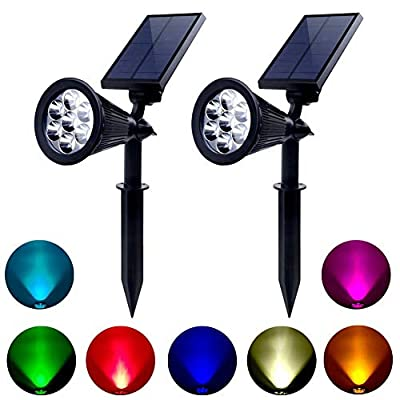 TEALP Moonsofter Outdoor Solar Spotlights 7 Led 2-in-1 Waterproof Outdoor Solar Adjustable Landscape Spotlights