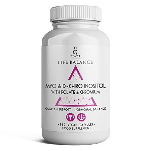 Myo & D Chiro Inositol, Chromium & Folate - 180 Capsules - Effective 40:1 Ratio - PCOS Support - Ovarian and Hormonal Support - Vegan - UK Made - No Additives (180 Capsule Bottle)