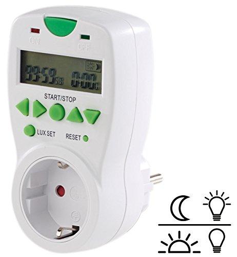revolt Lichtsensor Steckdose: Steckdose mit Helligkeits-gesteuertem Countdown-Timer und LCD-Display (Dämmerungschalter)